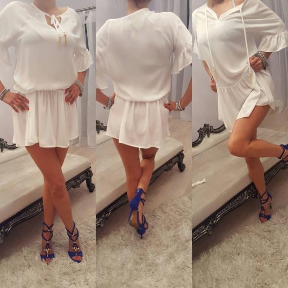 Suknie i sukienki Zwiewna biała sukienko tunika