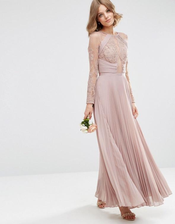 3ccb5381af Asos maxi pudrowa sukienka plisowana koronkowa w Suknie i sukienki ...
