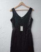 Top Secret cekinowa czarna sukienka sylwester cekiny mini bodycon tuba krótka błyszcząca M L