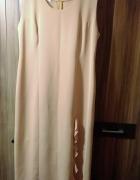 sukienka morelowa rozcięcie z żakietem 48...