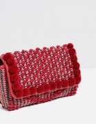 Torebka czerwona z pomponami Zara