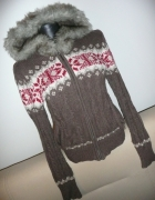 Sweter bluza kaptur futerko norweski wzór...