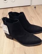 H&M nowe czarne botki sztyblety na obcasie styl zara...