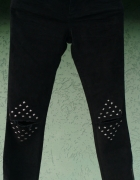 Spodnie handmade diy rozcięcia na kolanach gwiazdki dżety 34 nowe