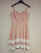 sukienka rozowa rozkloszowana rozm 40