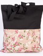Kwiaty róże torba siatka ręcznie szyta