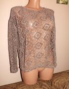 Luźny ażurowy sweterek w kolorze brązu ZARA nowy36