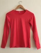 Czerwona Bluzeczka Elegancka Bluzka Długi Rękaw 36 38 M