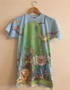 Bluzka Koszulka Tshirt Pora Na Przygodę Kolorowy Nadruk Krótki Rękaw 36 M