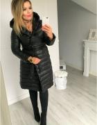 czarny pikowany płaszcz paradise