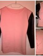 Brzoskwiniowa bluzeczka z lateksowymi rękawami
