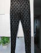 Topshop czarne legginsy srebrne pacyfki peace