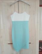 biało turkusowa sukienka