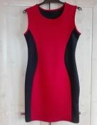 Wyszczuplająca czerwono czarna sukienka