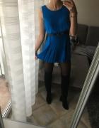 Kombinezon niebieski z falbankami spodnie rozmiar 34 36 XS S Top Shop