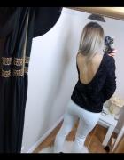 piękny błyszczący sweter gina tricot z dekoltem na plecach bluza