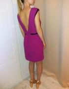 Sukienka z gołymi plecami fuksja koraliki Warehouse...