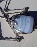 Stary srebrny naszyjnik z agatem