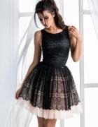 Efektowna sukienka tiulowym dołem czarna granat XS