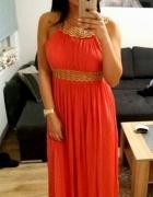 S Koral w stylu greckim boska maxi suknia