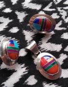Zuni navajo indiański komplet intarsje srebro