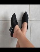 Zara nowe plecione klapki wystrzępione czarne