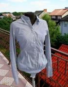 Nowa tania koszula z metkami bialo niebieska paski