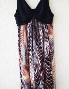 BHS długa letnia sukienka wzorzysta maxi boho...