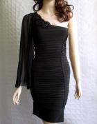 JANE NORMAN czarna sukienka szeroki rękaw 34 36
