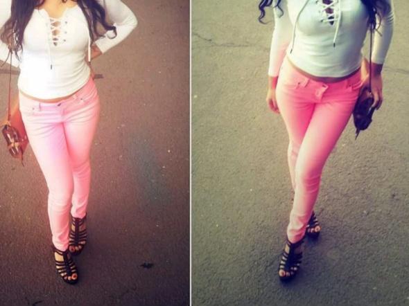 Spodnie neonowe z delikatnego jeansu 36