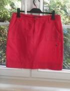 Greenpoint czerwona malinowa spódnica lniana len