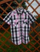 Koszula męska w kratę różowo czarna L