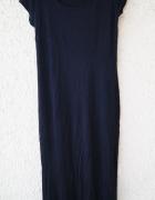 papaya czarna letnia długa sukienka maxi rozmiar 42