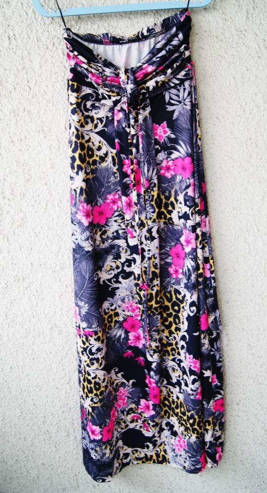 select długa sukienka maxi w kwiaty cętki boho