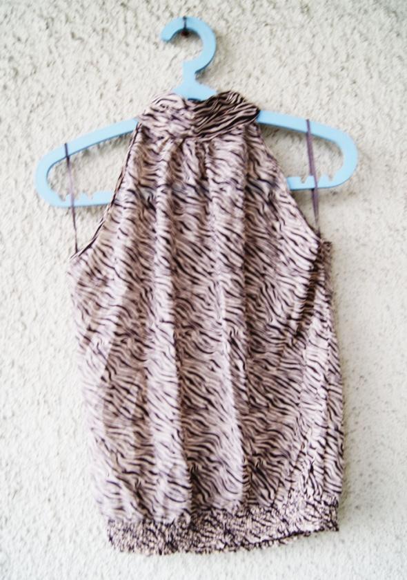 reserved bluzka w paski zebra odkryte ramiona półgolf