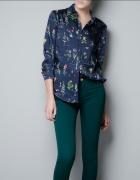 Granatowa koszula w kwiaty Zara Unikat