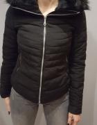 Zara zimowa ciepła kurtka puchowa XS S czarna okaz