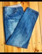 Proste jeansy dżinsy spodnie H&M 33 XXL 44 boyfriend niebieskie
