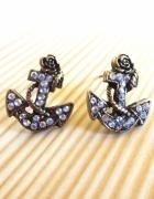 kolczyki marynarskie złote kotwice cyrkonie