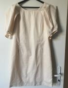 Beżowa sukienka z bufaistymi rękawami Vila