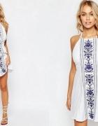 asos sukienka biała mini haftowana 42 xl...