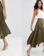 asos spódnica khaki satynowa zielona asymetryczna...