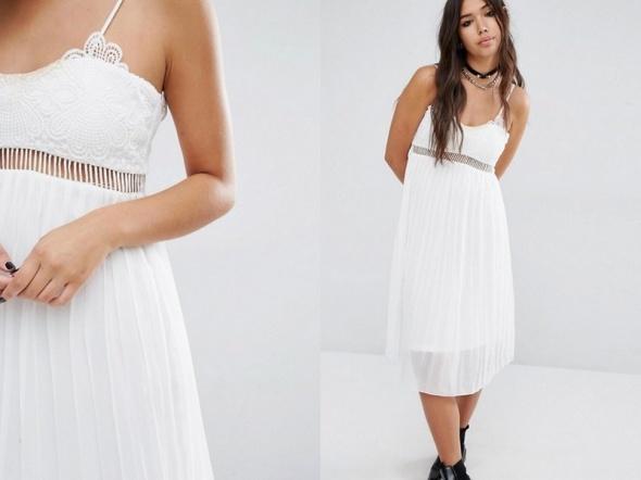 3d35669f95 boohoo sukienka biała plisowana z koronką 40 l w Suknie i sukienki ...