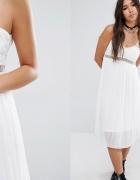 boohoo sukienka biała plisowana z koronką 40 l