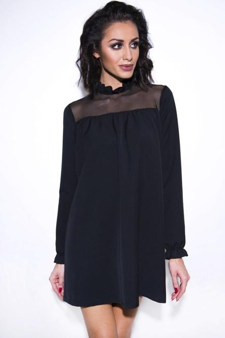 Czarna sukienka z siatką 38 M