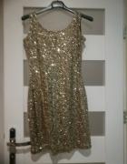 złota sukienka cekiny S M