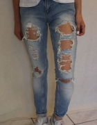 jasne spodnie z przetarciami s