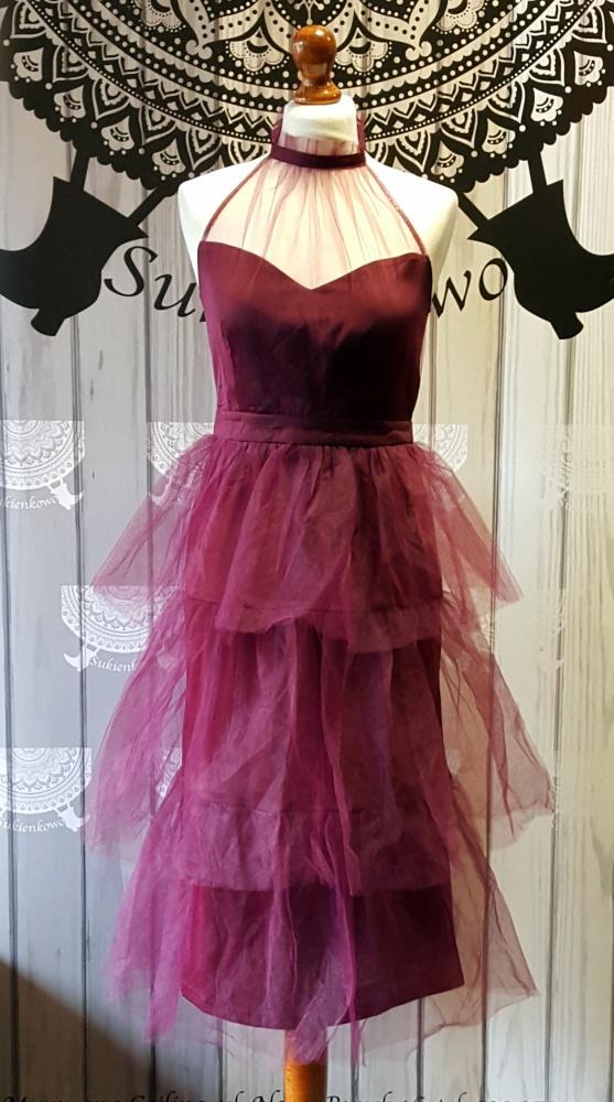 Suknie i sukienki Purpurowa tiulowa midi
