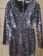 srebrna cekinowa sukienka...