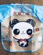 Śliniak z rękawami do karmienia wzór panda